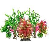 Aquarium Wasserpflanzen, PietyPet 7 Stück Großen Kunststoff Pflanzen Aquarium Aquariumpflanze Fisch Tank Dekoration, Rot und Grün