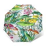 Regenschirm Taschenschirm Kompakter Falt-Regenschirm, Winddichter, Auf-Zu-Automatik, Verstärktes Dach, Ergonomischer Griff, Schirm-Tasche, Aquarium Wasserpflanzen Blume