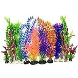 Aquarium Pflanzen Deko, PietyPet 12 Stück künstliche aquariumpflanzen, Groß plastikpflanzen Dekoration Fuer Aquarium, bunt Kunstpflanzen Aquariumdekor